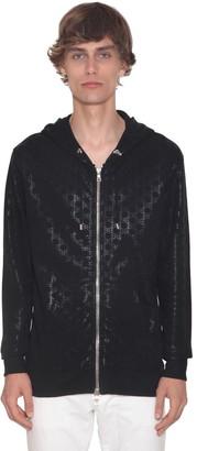 Balmain Bb Monogram Zip Cotton Jersey Hoodie