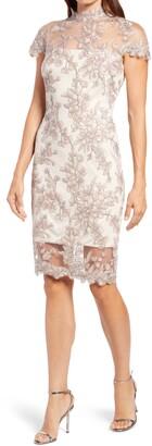 Tadashi Shoji Floral Lace Mock Neck Dress