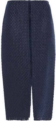 Roland Mouret Turnley Crepe-paneled Basketweave Wool-blend Pencil Skirt