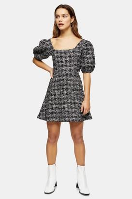 Topshop Womens Petite Boucle Effect Mini Jersey Dress - Navy Blue