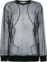 Stella McCartney mesh long sleeve top - women - Cotton/Polyamide/Polyester/Viscose - 36