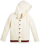 Gucci Hooded Cable-Knit Wool Sweater, White/Green/Red, Size 6-36 Months
