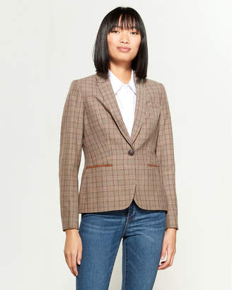 Tommy Hilfiger Plaid One-Button Blazer