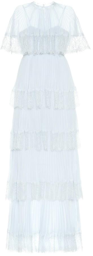 Self-Portrait Lace-trimmed chiffon gown
