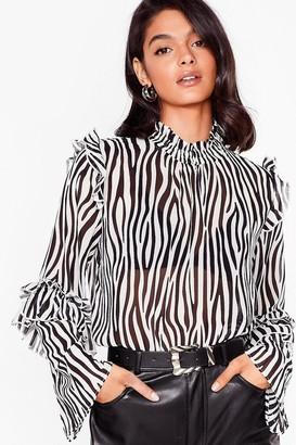 Nasty Gal Womens Wild on Time Zebra High Neck Blouse - Black