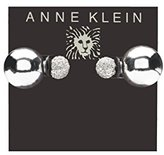 Anne Klein Front Back with Small Fireball Silver and Crystal Pierced Earrings