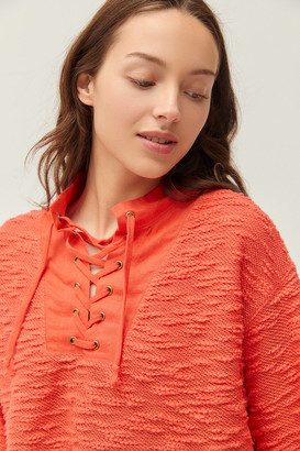Urban Outfitters Tague Lace-Up Funnel Neck Cropped Sweater