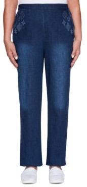 Alfred Dunner Autumn Harvest Embroidered Pull-On Jeans