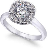 X3 Certified Diamond Halo Engagement Ring (1-3/8 ct. t.w.) in 18k White Gold, Only at Macy's