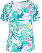 Fresh Produce Women's Tee Shirts WHITE - White & Aqua Tropical V-Neck Top - Women