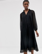 Asos Design DESIGN pleated trapeze midi dress with long sleeves