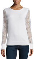 Magaschoni Cashmere Lace-Sleeve Sweater