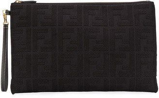 Fendi FF motif top-zip clutch
