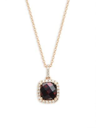 Effy 14K Rose Gold, Rhodolite White Diamond Pendant Necklace