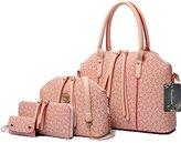 Donaword Women 4 Pcs Pueather Printing Messenger Bag Purse Shouder Handbag Tote Set