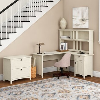 Three Posts Salina L-Shape Credenza Desk with Hutch Color: Antique White