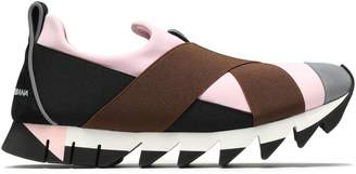 Dolce & Gabbana Suede-trimmed Color-block Neoprene Slip-on Sneakers
