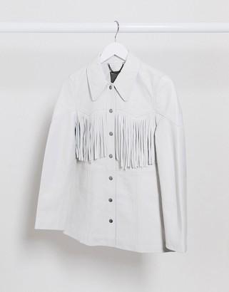 Muu Baa Muubaa leather shacket with fringing in white