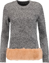 Opening Ceremony Faux fur-paneled wool and cotton-blend sweater