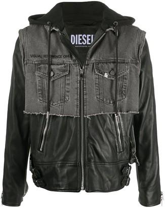 Diesel Hooded Leather And Denim Jacket