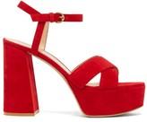 Gianvito Rossi Tabasco 70 Platform Suede Sandals - Womens - Red
