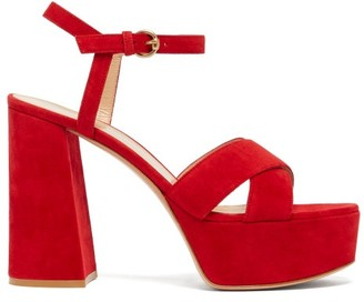 Gianvito Rossi Tabasco 70 Platform Suede Sandals - Womens - Red