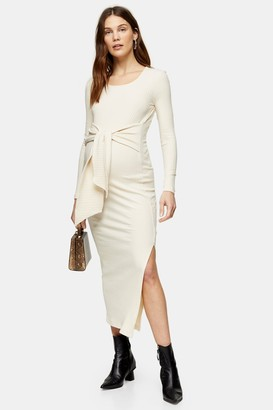 Topshop Womens **Maternity Cream Square Neck Tie Dress - Cream