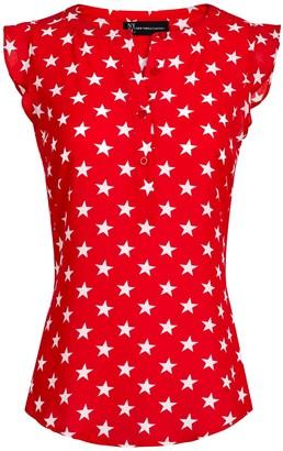 New York & Co. Star-Print Flutter-Sleeve Blouse
