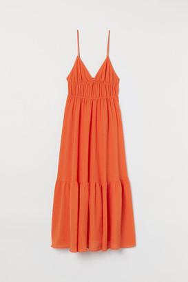 H&M Textured-weave Maxi Dress - Orange