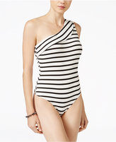 Material Girl Juniors' Striped One-Shoulder Bodysuit, Only at Macy's