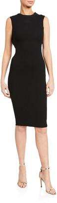 Victoria Beckham Jacquard Sleeveless Twist-Back Dress