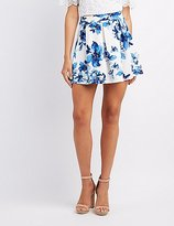 Charlotte Russe Floral Pleated Skater Skirt