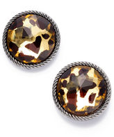 Style&Co. Earrings, Leopard Print Button Earrings