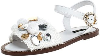 Dolce & Gabbana White Patent Leather And Raffia Pom Pom Crystal Embellished Flat Sandals Size 40