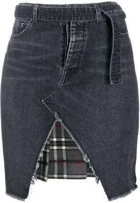 Unravel Project Denim And Plaid Asymmetric Skirt