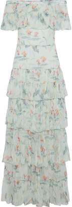 Vilshenko Off-the-shoulder Tiered Floral-print Silk-georgette Gown