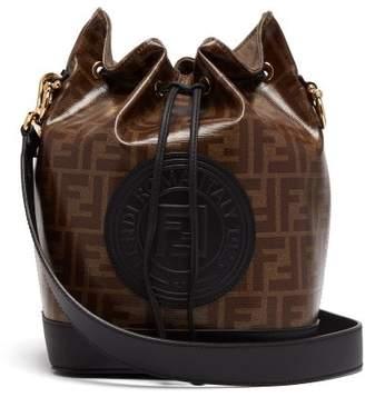 Fendi Mon Tresor Ff Coated-canvas And Leather Bucket Bag - Womens - Black Brown