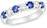 Zales Blue Sapphire and 3/8 CT. T.W. Diamond Seven Stone Wedding Band in 14K White Gold