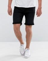 Mango Man Denim Shorts In Black