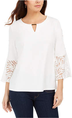 JM Collection Mixed-Media Bell-Sleeve Keyhole Top