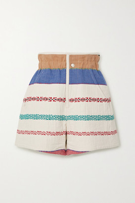 Isabel Marant Baixa Embroidered Cotton-blend Canvas Shorts