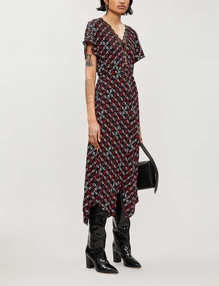 Maje Rorsie geometric-print woven midi dress