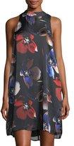 Matty M Mock-Neck Floral-Print Dress