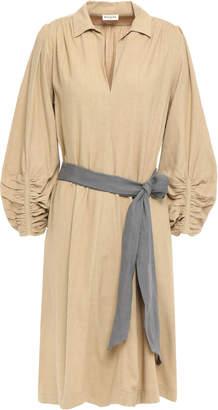Masscob Belted Slub Shantung Silk Dress