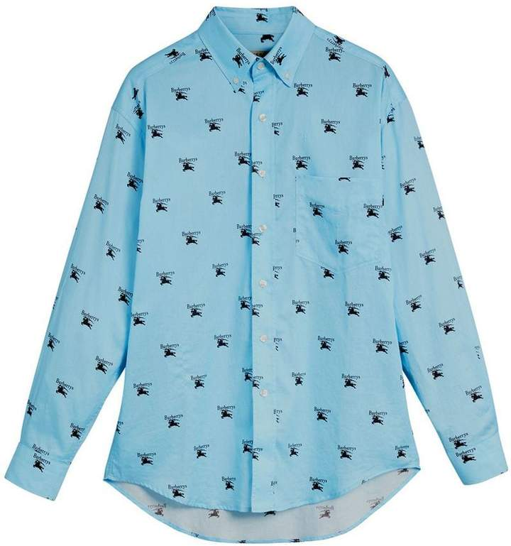Burberry Button-down Collar Logo Print Cotton Shirt