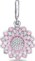 Laura Ashley Enamel-Plated Sterling Silver 4-Layered Pink Flower Charm