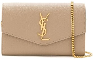 Saint Laurent Uptown envelope leather clutch bag