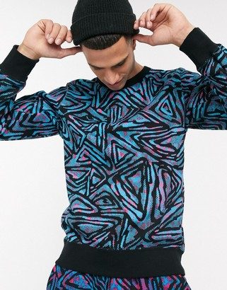Nike SB all over print crew neck sweat in blue
