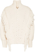 Burberry Oversized Fringed Cable-knit Cotton-blend Sweater - Off-white