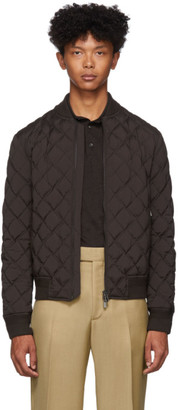 Ermenegildo Zegna Brown Down Quilted Bomber Jacket